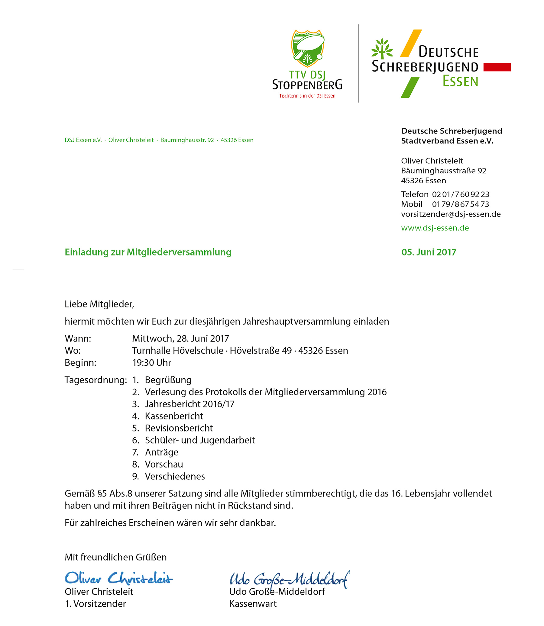 einladung zur mitgliederversammlung - tischtennis in der ttv dsj, Einladung